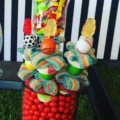 #sports themed #candykabob. #soccer #football #basketball #golf #tennis #CandybarCouture #candybarcouturetogo Candy Kabobs, Sports Party, Cotton Candy, Fundraising, Party Favors, Tennis, Basketball, Golf, Football