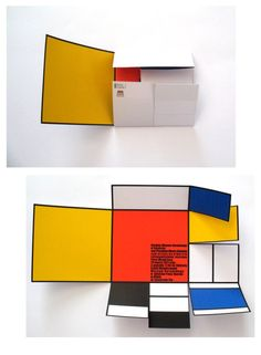 Love this De Stijl inspired folding poster! bright and bold! I also like that the copy is kept to a small square within it.
