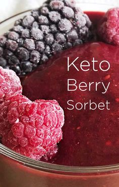 This keto berry sorbet is low in sugar but is sure to satisfy your sweet tooth. My favorite summer treat, this dairy-free keto sorbet is refreshing, without the sugar crash Real Food Recipes, Keto Recipes, Yummy Food, Blender Recipes, Yummy Drinks, Sweet Recipes, Tasty, Healthy Recipes, Keto Ice Cream