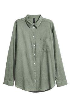 Хлопковая рубашка - Хаки - Женщины | H&M RU