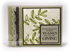 SU! Lighthearted Leaves stamp set; colors are Old Olive, Pear Pizzazz and Sahara Sand - Ann Clemmer