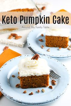 {NEW} Keto Pumpkin Cake just in time for pumpkin season! 🎃🎃 It's such a simple, delicious cake to get that fall pumpkin fix. It's topped with a scrumptious cream cheese frosting which makes it a perfect dessert. Best Dessert Recipes, Fun Desserts, Snack Recipes, Easy Recipes, Cheese Pumpkin, Canned Pumpkin, Cake With Cream Cheese, Cream Cheese Frosting, Unflavored Whey Protein
