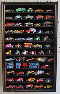 Hot Wheels Matchbox Car Display Case Cabinet Wall Rack, Kid-Safe Door - HW04