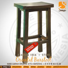 ORIENTAL BARSTOOL - Indonesian handcarved mahogany Oriental style barstool. #HandmadeFurniture #Barstool #Mahogany #Handcarved #Oriental #Style #Seating #Idea #sokokayu