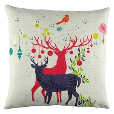 Elyhome 18x18 inches Cute Little Reindeer Couple Christmas Holiday Theme Cotton Linen Decorative Square Cushion Throw Pillow Cover -- Check out the image by visiting the link. (This is an affiliate link) #DecorativePillowsInsertsCovers