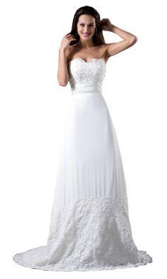 Honeystore Women's Sweetheart Chapel Train Wedding Dress