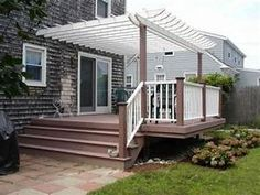 Enhance your deck design with a 'roof' cover — slatted pergola, solid roof, open or screened gazebo or screened in deck — for privacy and style. Slatted Deck Pergola A well-… Pergola Cost, Wood Pergola, Pergola Canopy, Deck With Pergola, Covered Pergola, Outdoor Pergola, Backyard Pergola, Pergola Shade, Pergola Plans