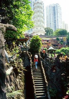 Long stone staircase in the Gardens, with the White Pagoda in the background - Hong Kong's Tiger Balm Gardens/Aw Boon Haw Gardens.