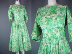 Vintage 50s Party Dress 1950s Green Blue Floral by mustangannees, $74.00