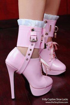Sexy pink strappy cuff heels