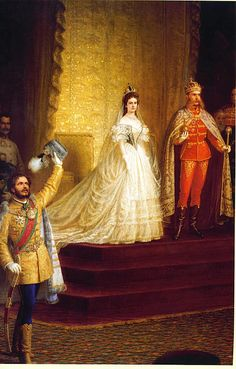 "Painting by unknown artist in 1867 of the Emperor Franz Joseph I Aug Nov Austria & Empress Elisabeth ""Sissi"" (Elisabeth Amalie Eugenie) Dec Sep Bavaria at their Hungarian coronation. Kaiser Franz Josef, Franz Josef I, Reine Victoria, Queen Victoria, Romy Schneider, Empress Sissi, Francisco Jose, Estilo Real, Court Dresses"