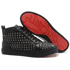 Christian Louboutin Louis Spikes High Top Sneakers Black DLX Makes You Full Of Modern Flavors, Follow The Modern Fashion!