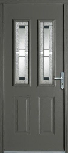 Porte acier, Porte entree, Bel'm, Classique, Poignee plaque couleur argent, Mi-vitree, Double vitrage decoratif, Petits bois noirs, Kailua, Epaisseur 48mm