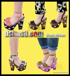 High heels with flowers by Becky Sims 3 Shoes, Download Cc, Free Sims, The Sims4, Chunky Heels, Sims 4, Girl Outfits, High Heels, Platform