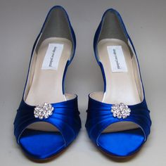 Blue Wedding Shoes -- Royal Blue Kitten Heels with Simple Rhinestone Adornment -- RESERVED FOR JEAN on Etsy, £65.06
