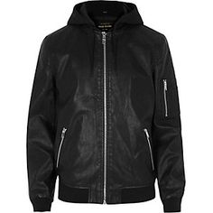 00d2c6e32b8 Black Leather Look Hooded Jacket River Island Mens