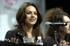Mila Kunis  at mic... during a discussion panel for her film Forgetting Sarah Marshall ( 2008 ) shared to groups 12/29/17