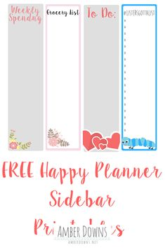 Instructions-Print at 100% on regular paper, card stock or sticker paper. Cut and attach in the note secton of he weekly spead in the Happy Planner.Like