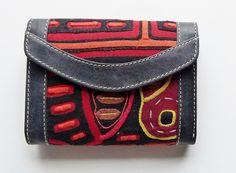 Kleine Geldbörse aus Leder mit Mola-Dekor von MOLA-BAGS auf DaWanda.com
