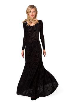 awesome New 2014 brand winter evening dress vestido de festa longo black  velvet elegant evening dresses long sleeves party prom gown d1af1d2d1cd0