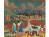View Huts, two figures carrying calabashes and a cow by Maggie Maria Magdalena Laubser on artnet. Browse upcoming and past auction lots by Maggie Maria Magdalena Laubser. Grandma Moses, South African Art, White Cow, Cattle, Female Art, Sheep, Auction, Landscape, Painters