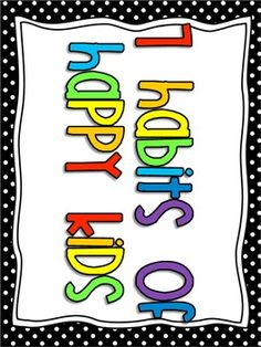 7 habits of happy kids classroom posters {black, lime, teal}