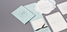 wedding invitation suite with die cut cards by Real Card Studio