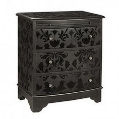 flat black paint and then stencilled with gloss black....instant damask