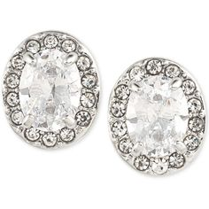 Carolee Silver-Tone Clear Cystal Pave Stud Earrings ($34) ❤ liked on Polyvore featuring jewelry, earrings, silver, silver tone earrings, clear jewelry, carolee jewelry, clear crystal earrings and silvertone earrings
