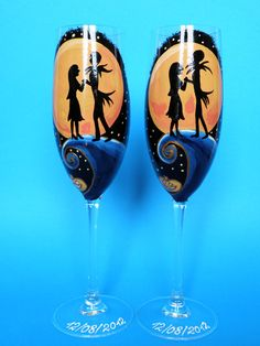Hand painted Wedding Toasting Flutes Set of 2 by pastinshs on Etsy, $49.00