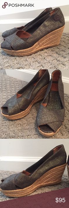 TORY BURCH METALLIC SILVER ESPADRILLE WEDGES Gently used Tory Burch Shoes Wedges