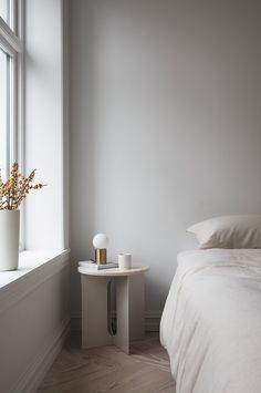 A Beautiful Silhouette - Androgyne Side Table Design by Danielle Siggerud for Menu Minimalist Interior, Minimalist Home, Minimalist Lifestyle, Small Minimalist Bedroom, Minimalist Fashion, Home Bedroom, Bedroom Decor, Bedroom Ideas, Small Bedroom Inspiration