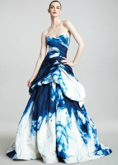 Strapless Ink-Print Ballgown by Monique Lhuillier #Dress #Evening_Gown #Monique_Lhuillier