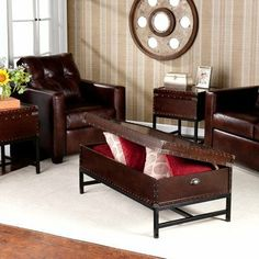 "Southport 3 Piece Trunk Coffee Table Set by Wildon Home. $636.29. WF1200GP Features: -Material: Veneer, MDF and metal.-Black frame.-Antique Bronze hardware. Includes: -Includes 1 cocktail table and 2 end tables. Color/Finish: -Espresso finish. Dimensions: -End table dimensions: 23"" H x 20"" W x 20"" D.-End table storage dimensions: 6"" H x 18"" W x 18"" D.-Cocktail table dimensions: 18"" H x 42"" W x 24"" D.-Cocktail storage dimensions: 6"" H x 40"" W x 22"" D. Warranty: -1 Year warranty."