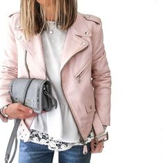 Love the lace and leather! The light pink would wash me out even more though