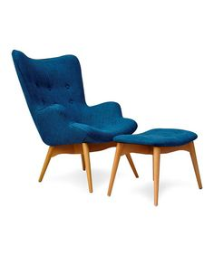 Another great find on #zulily! Blue Huggy Chair & Ottoman by International Design #zulilyfinds