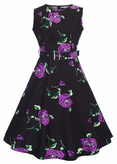 6e4f2cac29 Women Vintage Spring Garden Party Dress for Women Sleeveless Rose Print.  Fashion Shop