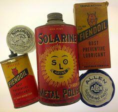 Vintage Solarine Fiendol Devil Face Soldering Tin Advertising Lot Red Yellow | eBay