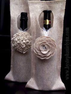 Embalagem em feltro para garrafas de vinho