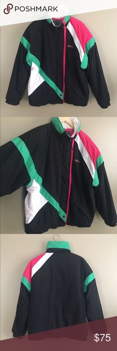"""Vintage 80s Rare Fila Puffer Coat Vintage 80s rare Fila Magic Line puffer coat ski style jacket. Made in Italy. Marked size US 40. Fits like a Large or XL. Great condition except some discoloration along neckline which is probably fixable with oxyclean. Hardly noticeable. See photo. Super cool coat. Length: 28"""" shoulders: 25.5"""" chest: 26.5"""" sleeve length: 21"""" Fila Jackets & Coats Puffers"""