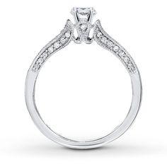 DIAMOND RING SETTING 1/4 CT TW ROUND-CUT 14K WHITE GOLD