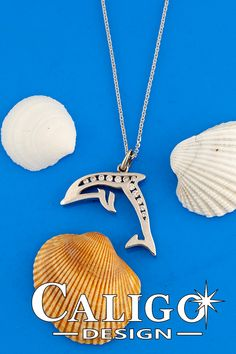 Dolphin Pendant Necklace - White or yellow gold with diamonds - Dolphin Jewelry by Caligo Design - Nature inspired Jewelry - 14k Gold Chain, 14k Gold Jewelry, Gold Chains, Diamond Jewelry, Ocean Jewelry, Dolphin Jewelry, Nature Inspired, Dolphins, Diamonds