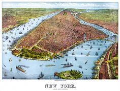 New York City, from the harbor. Panoramic poster by Charles J. Root, ca. 1879.