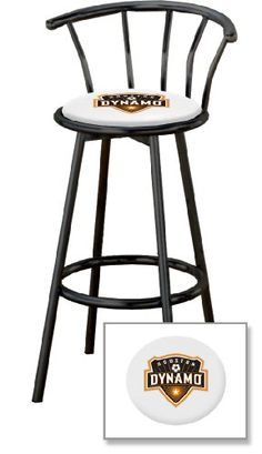 New 24 Houston Dynamo Logo Themed Custom Specialty Black Metal Swivel Seat Bar Stools with a White Vinyl Seat Cushion Houston Dynamo Theme. White Vinyl Seat Cushion. 24 Tall To Seat. Black Finish Metal. Swivel Seats with Backrest.  #TheFurnitureCove #Home