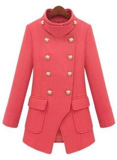 Red High Neck Long Sleeve Double Breasted Pockets Coat