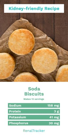 Heres a light soda biscuits you can add on your breakfast list to start your Healthy Kidney Diet, Kidney Foods, Kidney Health, Healthy Food, Low Potassium Recipes, Low Sodium Recipes, Low Salt Recipes, Diet Recipes, Bread Recipes