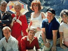 Gilligan's Island (TV show) Jim Backus, Natalie Schafer, Tina Louise, Alan Hale Jr., Bob Denver and Russell Johnson (clockwise from top left)