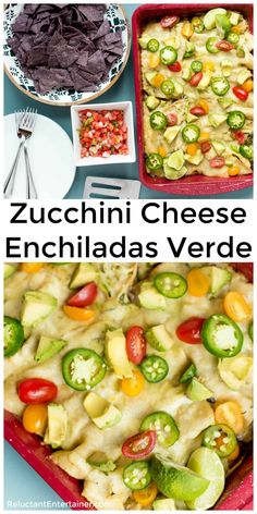 Zucchini Cheese Enchiladas Verde are made with a delicious zucchini and bean cheesy filling packed with everything delicious for your Mexican food craving! enchiladas via Reluctant Entertainer Zucchini Enchiladas, Cheese Enchiladas, Vegetarian Enchiladas, Vegan Kitchen, Kitchen Recipes, Zucchini Cheese, Bake Zucchini, Enchiladas Verdes Recipe, Salad Recipes