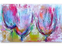 This is so pretty!!! Original Abstract  Painting Tulips Pink Teal by lanasfineart, $400.00