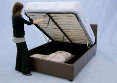 Pradoa Plus Ottoman / Storage Bed Frame in Brown Faux Leather